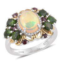 Ethiopian Welo Opal, Russian Diopside, Sterling Silver Ring