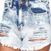Shredded Icy Wash Shorts - LoveCulture