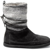TOMS Nepal Boot Women Black Wool Stripe