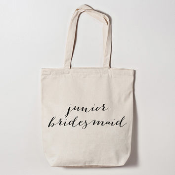 Junior Bridesmaid Calligraphy Tote Bag