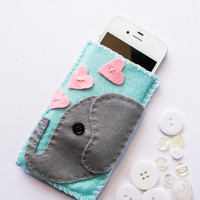 Felt Elephant Iphone 4 4s GS3 Iphone 5 Cell Phone Cover Case