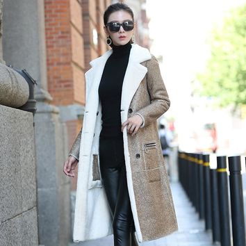 Real Sheepskin Shearling Coat for Women Genuine Leather Shearling Coat Reversible Double Wear Fur Coat dx0011