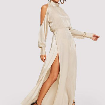 Open Shoulder Slit Side Dress