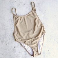 take a dip high-cut one piece swimsuit - taupe