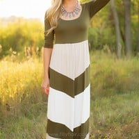 Fall Beauty Maxi Dress in Olive