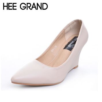 HEE GRAND Women's Sexy Wedges Heel Party Shoes Pointed Toe Solid Pumps Shallow Fashion Shoes With High Heels XWD4290