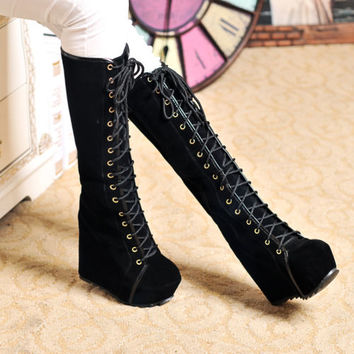 Womens Goth Roman Super Platform Wedge Heels Faux Suede Lace Up Knee High Boots