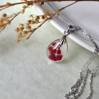 Red Solidaster Pressed Flowers Teardrop Tiny Resin Pendant