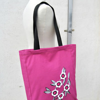 Canvas Tote bag with long handles in Purple Fabric   with handpainted silver tree decor and crochet flowers applied Handmade in Italy
