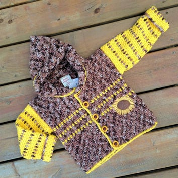 Children's Sweater Hoodie, Handmade Crochet Sunflower cardigan sweater with hood, Baby Sweater size 3