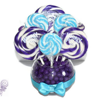 Small Lollipop Centerpiece, Purple and Turquoise Wedding Centerpiece, Candy, Lollipop, Centerpiece, Edible, Bridal, Shower, Baby
