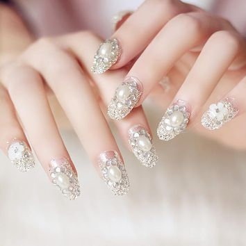Full Cover 24 Pcs/set Rhinestone False Nail Tips Sticker Bride Press On Fake Nail Manicure Flash Chip With Glue HB88