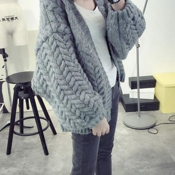 New Grey Patchwork V-neck Casual Cardigan Sweater