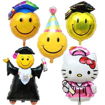 1pcs Cartoon DR. Big Smiley Face Hat Foil Balloon Inflatable Balloons Graduation Party Birthday Decoration KT Cat Hello Kitty