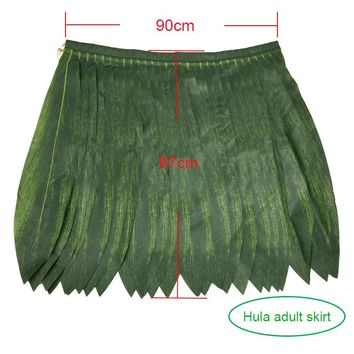 Fabric Green Leaf Grass Hula Skirt