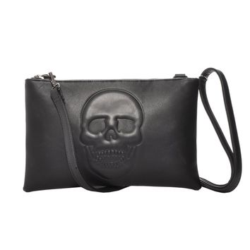 Mechaly Women's Skully Black Vegan Leather Skull Clutch Crossbody Handbag