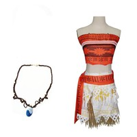 Women Princess Moana Costume Women Fancy Dress Cosplay Party Costume Adults with necklace free