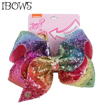 8'' Big Sequins Hair Bows Rainbow Mermaid Knot Bow Hair Clips For Girls Children Handmade Birthday Party Barrette Hair Accessory