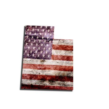 Utah Distressed Tattered Subdued USA American Flag Vinyl Sticker