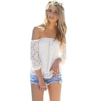 Amoin Sexy White Lace Off-shoulder Loose Tops Fashion Casual T-shirt Blouse