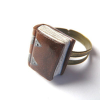Ancient Book Ring  Book Jewelry by Coryographies by Coryographies