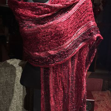 Nemesis Vintage red and silver silk gossermer  Scarf Wrap