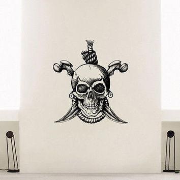 WALL DECAL VINYL STICKER PIRATE SKULL KNIFE SWORD DECOR SB524