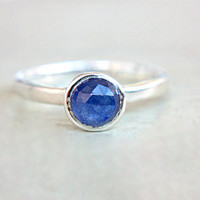 Blue Sapphire Ring Blue Rose Cut Sapphire Engagement Ring Natural Sapphire Ring Sterling Silver Promise Ring September Birthstone size 6,5