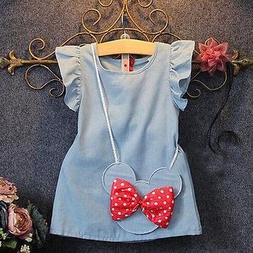 KIDS BABY GIRL PETAL SLEEVE MINNIE MOUSE BAG RUFFLES DENIM BOW PRINCESS DRESSES 1-5Y