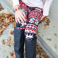 Pixie Pink Reindeer Fair Isle Leggings - One