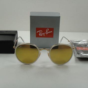 RAY-BAN ROUND FOLDING SUNGLASSES RB3517 001/93 GOLD FRAME/YELLOW FLASH LENS 48MM