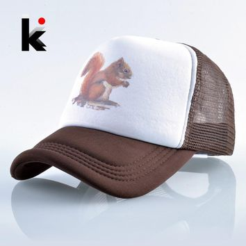 Trendy Winter Jacket Snapback Mesh Hat Women Print Squirrel Baseball Cap Men Summer Outdoor Breathable Trucker Bone Masculino Unisex Hip Hop Gorras AT_92_12