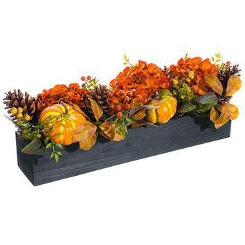 """Fall Decoration with Artificial Pumpkins & Hydrangeas in Black Wood Planter - 9"""" Long"""