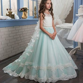 Princess Mint Green Lace Flower Girls Dresses For Wedding Party Cheap 2017 First Communion Dress For Girls Formal Kids Gowns