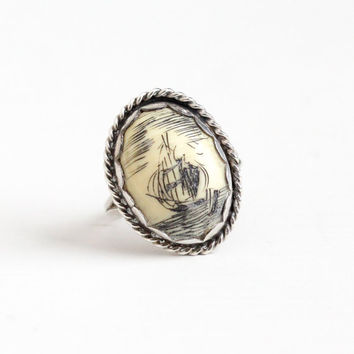 Vintage Sterling Silver Scrimshaw Sailing Ship at Sea Ring - Retro 1960s Size 5 1/2 Oval Organic Gem Cabochon Nautical Statement Jewelry