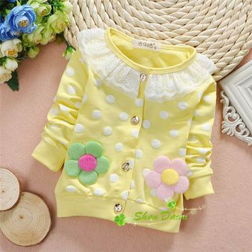 2018 Spring and Autumn Baby Girls Sweet lace 2 big flowers dot cardigan coat,Children fashion cardigan Jackets,V1801