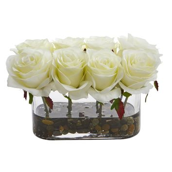 Artificial Flowers -5.5 Inch Blooming White Roses In Glass Vase No2 Silk Plant