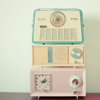 Radio Stations - Still life photography, radio print, mid century, pastel decor, candy color, retro wall art, blue, pink, yellow
