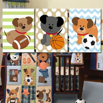 DOGS Wall Art, Puppy Sports Decor, BABY BOY Nursery Decor, Sports Dog Theme, Football Basketball Baseball, Set of 3 Canvas or Prints