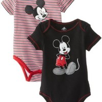 Disney Baby Boys' Mickey 2 Pack Creeper, Black and Stripes, 12