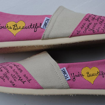 "Womens ""Beautiful"" Hand Painted TOMS, Pink and Cream, Phil Wickham lyrics, Custom hand painted shoes"