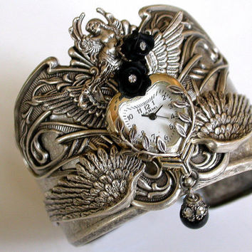 Time for Love Gothic Steampunk Silver Cuff Watch by LeBoudoirNoir