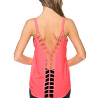 Caged Back Tank Top - Neon Pink