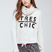 Heathered Funnel Neck Chic Sweatshirt