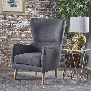 Sandra Wing Back Fabric Club Chair