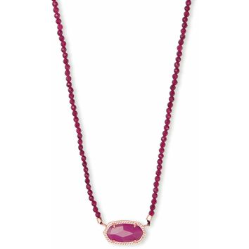 Kendra Scott: Elisa Rose Gold Beaded Pendant Necklace In Maroon Jade