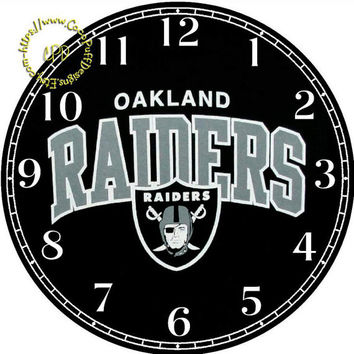 """Oakland Raiders Sport Team Art - -DIY Digital Collage - 12.5"""" DIA for 12"""" Clock Face Art - Crafts Projects"""
