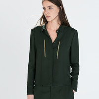 Zipped jacket with shirt collar