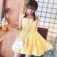 Summer sweet lemon yellow sleeveless dress SD00929