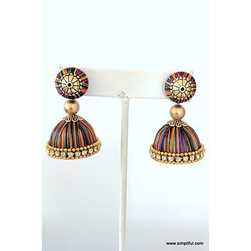 Silk Thread Bell shaped Jhumka Earring - Medium